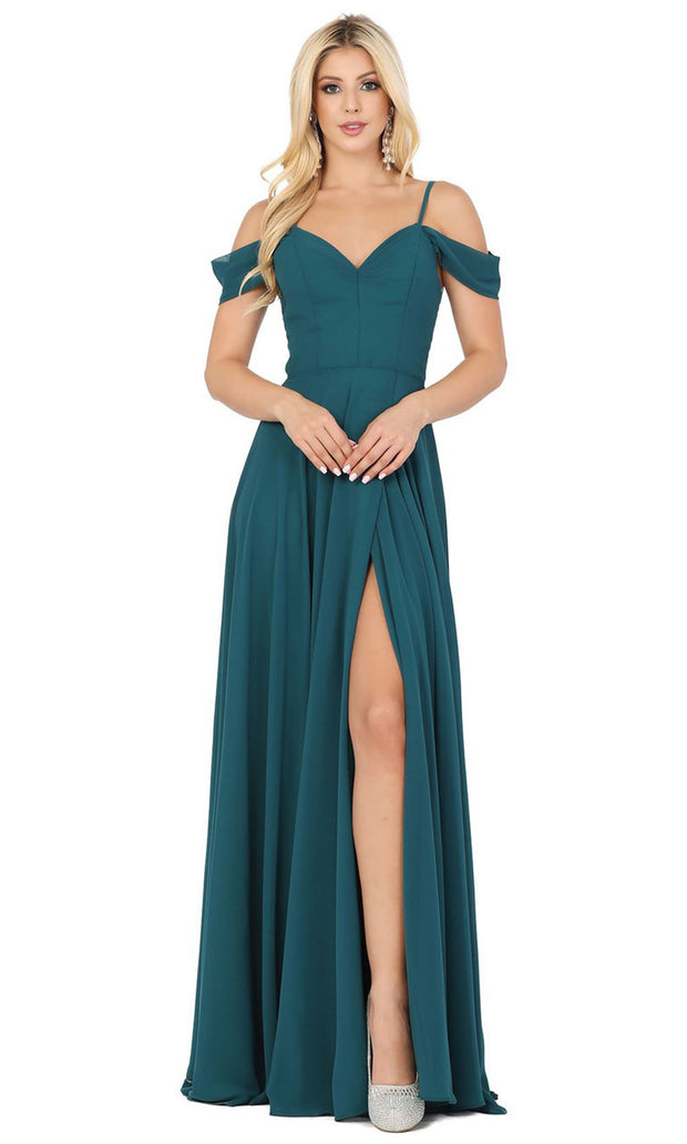 Dancing Queen - 2961 Sheer Lace Back Cold-Shoulders A-Line Gown In Green