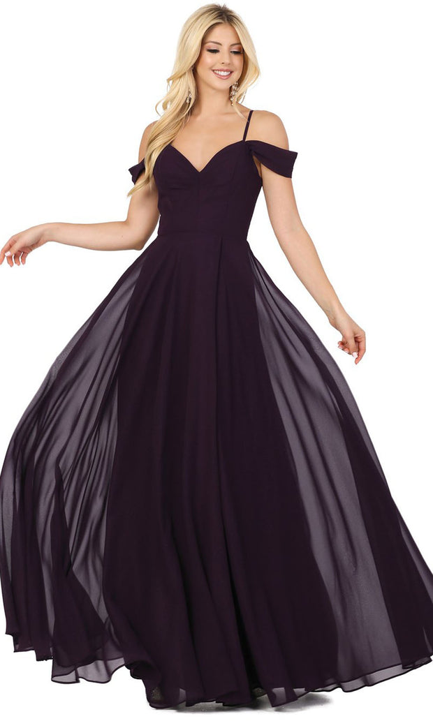 Dancing Queen - 2961 Sheer Lace Back Cold-Shoulders A-Line Gown In Purple