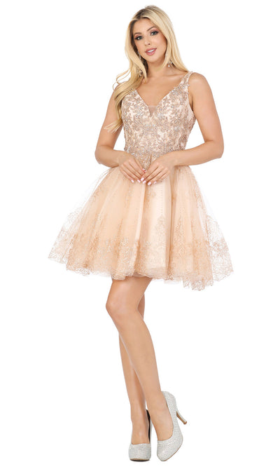 Dancing Queen - 3237 Metallic Lace Embroidered Fit And Flare Dress In Champagne & Gold