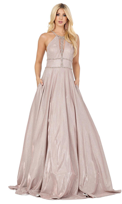 Dancing Queen - 4008 Embellished Halter Neck Long A-Line Gown In Pink