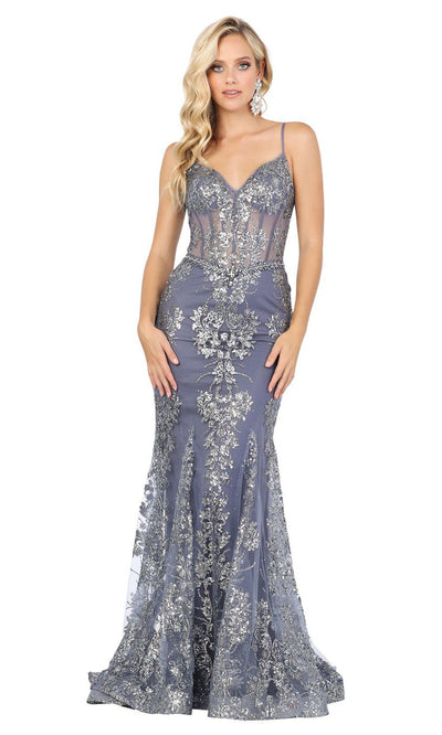 Dancing Queen - 4118 Embellished Sheer Corset Bodice Mermaid Gown In Blue