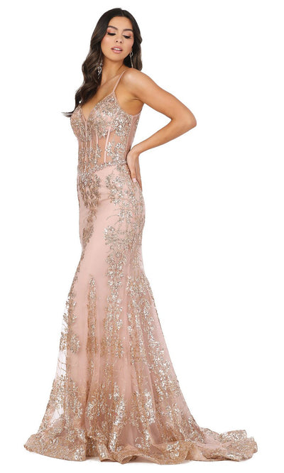 Dancing Queen - 4118 Embellished Sheer Corset Bodice Mermaid Gown In Pink