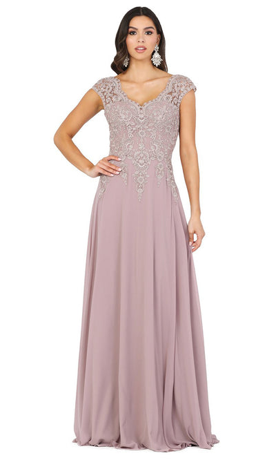 Dancing Queen - 4122 Embroidered V Neck A-Line Gown In Brown