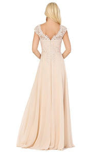 Dancing Queen - 4122 Embroidered V Neck A-Line Gown In Neutral