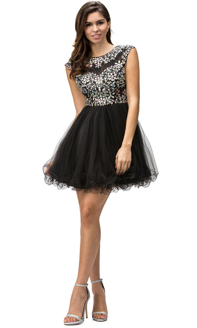 Dancing Queen - 9149 Multi-Beaded Bodice Fit And Flare Cocktail Dress In Black