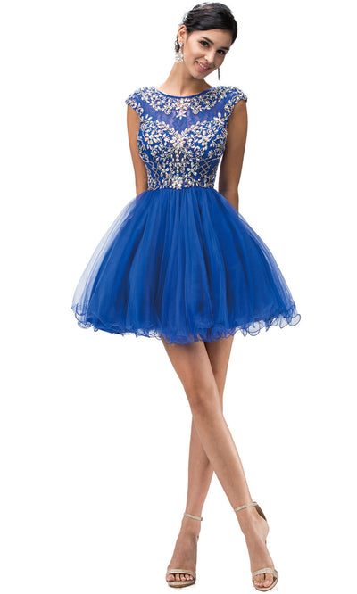 Dancing Queen - 9149 Multi-Beaded Bodice Fit And Flare Cocktail Dress In Blue