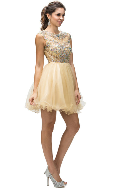 Dancing Queen - 9149 Multi-Beaded Bodice Fit And Flare Cocktail Dress In Champagne & Gold