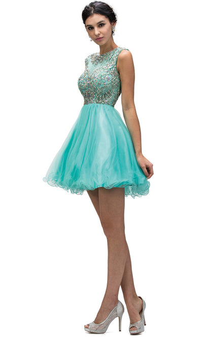 Dancing Queen - 9149 Multi-Beaded Bodice Fit And Flare Cocktail Dress In Green