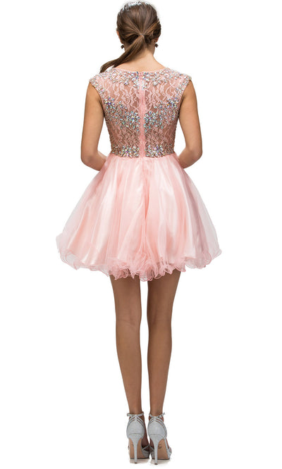 Dancing Queen - 9149 Multi-Beaded Bodice Fit And Flare Cocktail Dress In Pink