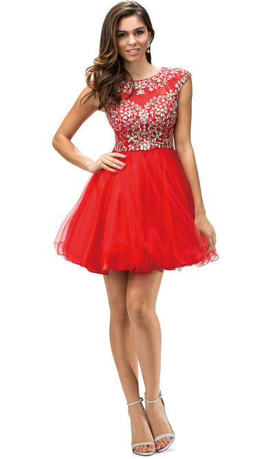 Dancing Queen - 9149 Multi-Beaded Bodice Fit And Flare Cocktail Dress In Red