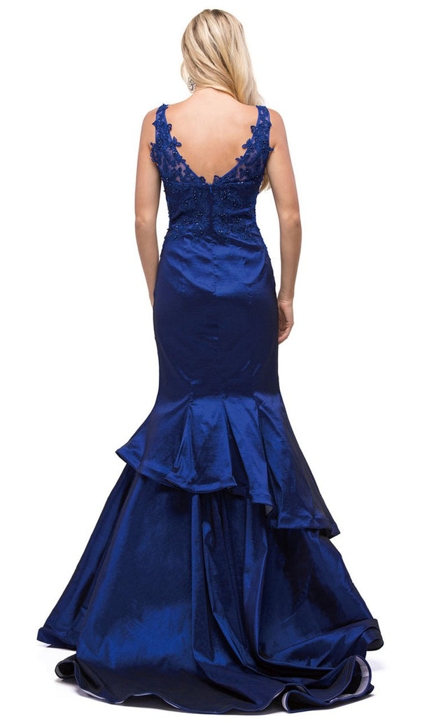 Dancing Queen - 9457 Sleeveless Appliqued Tiered Trumpet Dress In Blue