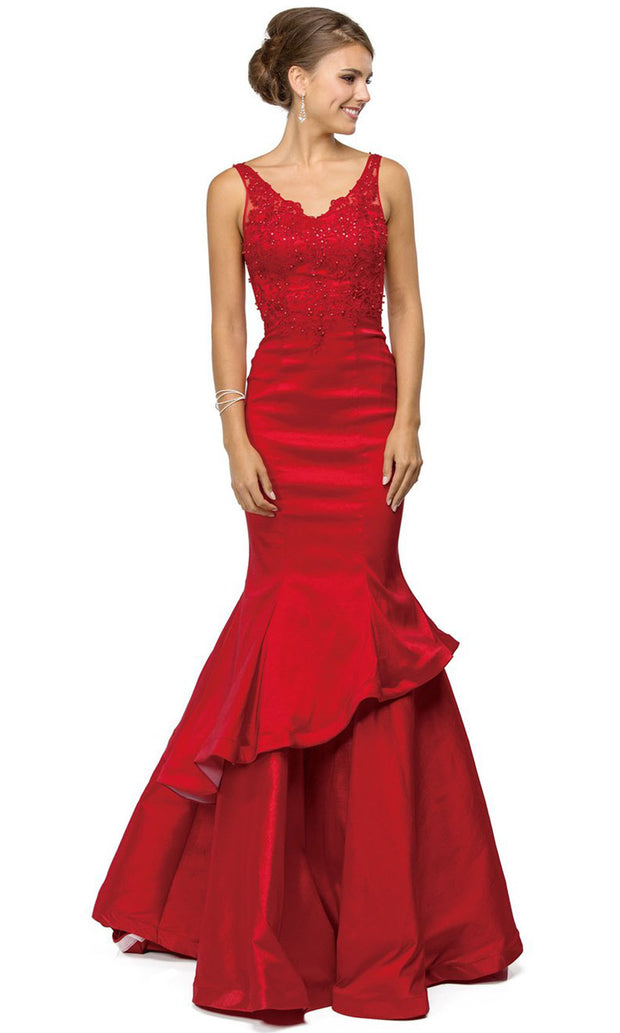 Dancing Queen - 9457 Sleeveless Appliqued Tiered Trumpet Dress In Red