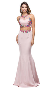 Dancing Queen - 9778 Two Piece Embroidered Mermaid Dress In Pink