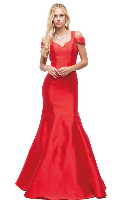 Dancing Queen - 9928 Cold Shoulder Cutout Back Trumpet Dress In Red