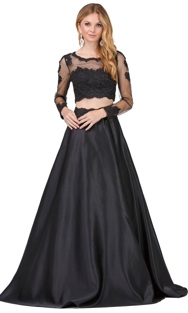 Dancing Queen - 9950 Two-Piece Long Sleeve Appliqued A-Line Dress In Black