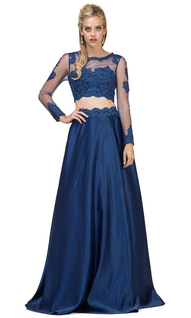 Dancing Queen - 9950 Two-Piece Long Sleeve Appliqued A-Line Dress In Blue
