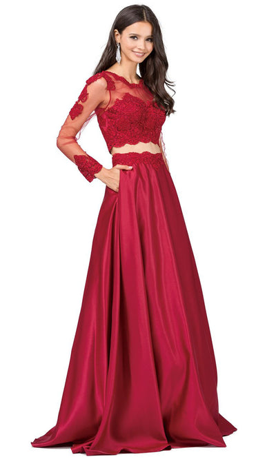 Dancing Queen - 9950 Two-Piece Long Sleeve Appliqued A-Line Dress In Burgundy