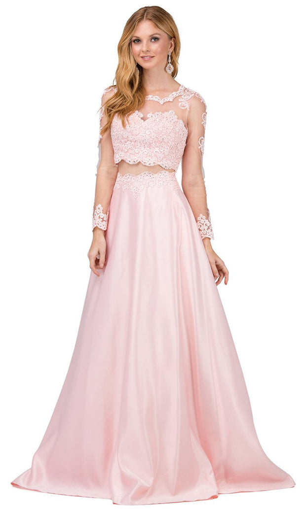 Dancing Queen - 9950 Two-Piece Long Sleeve Appliqued A-Line Dress In Pink