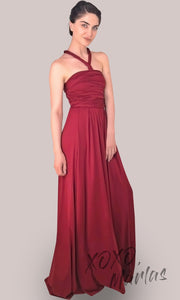 Long Burgundy infinity bridesmaid dress or multiway dress or convertible dress.One dress worn in multiple ways.This dark red one size dress is great for bridesmaid, prom, destination wedding, gala, cheap western party dress, semi formal, cocktail