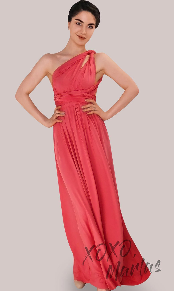 Long coral infinity bridesmaid dress or multiway dress or convertible dress.One dress worn in multiple ways.This orange peach one size dress is great for bridesmaid, prom, destination wedding, gala, cheap western party dress, semi formal, cocktail