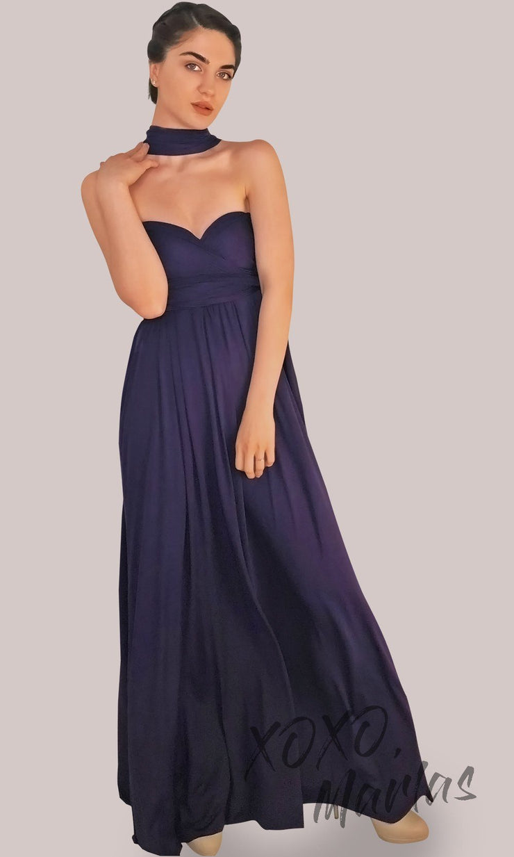Long dark purple infinity bridesmaid dress or multiway dress or convertible dress.One dress worn in multiple ways.This eggplant one size dress is great for bridesmaid, prom, destination wedding, gala, cheap western party dress, semi formal, cocktail