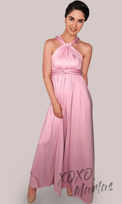 Long dusty rose infinity bridesmaid dress or multiway dress or convertible dress.One dress worn in multiple ways.This pink rose one size dress is great for bridesmaid, prom, destination wedding, gala, cheap western party dress, semi formal, cocktail