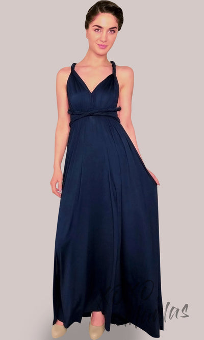 Long navy blue infinity bridesmaid dress or multiway dress or convertible dress.One dress worn in multiple ways.This dark blue one size dress is great for bridesmaid, prom, destination wedding, gala, cheap western party dress, semi formal