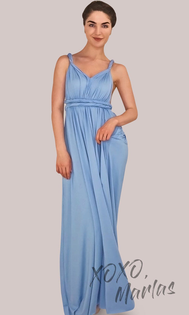 Long periwinkle blue infinity bridesmaid dress or multiway dress or convertible dress.One dress worn in multiple ways.This light blue one size dress is great for bridesmaid, prom, destination wedding, gala, cheap western party dress, semi formal