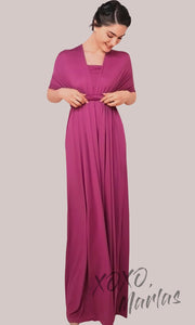 Long purple pink infinity bridesmaid dress or multiway dress or convertible dress.One dress worn in multiple ways.This magenta one size dress is great for bridesmaid, prom, destination wedding, gala, cheap western party dress, cocktail, semi formal