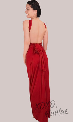 FLong red infinity bridesmaid dress or multiway dress or convertible dress.One dress worn in multiple ways.This red one size dress is great for bridesmaid, prom, destination wedding, gala, cheap western party dress, semi formal, cocktail, gala, formal