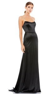 Ieena Duggal - 12428I Embellished Strap Sleeveless Satin Long Dress In Black