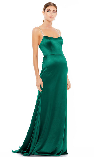 Ieena Duggal - 12428I Embellished Strap Sleeveless Satin Long Dress In Green
