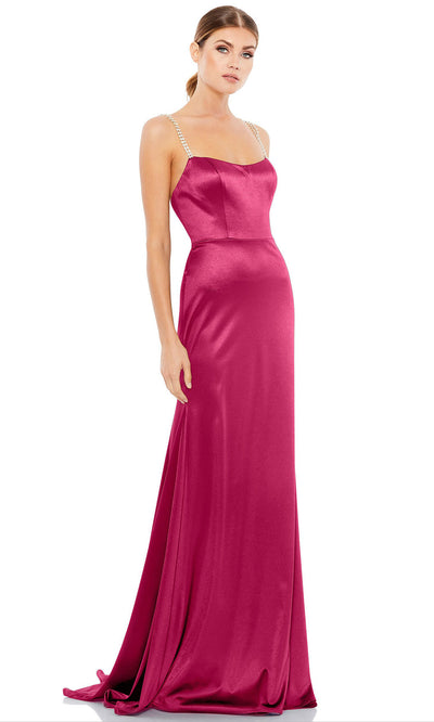 Ieena Duggal - 12428I Embellished Strap Sleeveless Satin Long Dress In Pink
