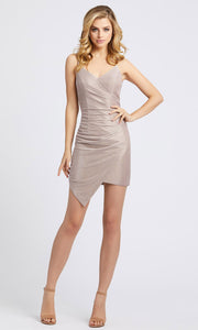Ieena Duggal - 26195I Faux Wrap Shimmer Fitted Mini Dress In Pink