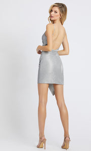 Ieena Duggal - 26195I Faux Wrap Shimmer Fitted Mini Dress In Silver & Gray