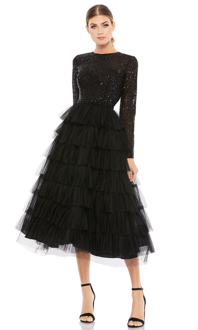 Ieena Duggal - 26299I Long Sleeve Tiered A-Line Dress In Black