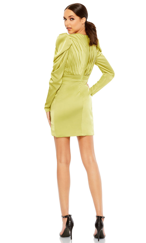 Ieena Duggal - 26380I Long Sleeve V-Neck Pleated Fitted Cocktail Dress In Green