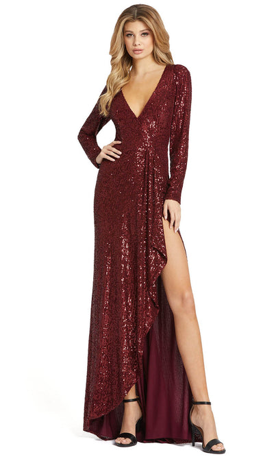 Ieena Duggal - 26395I Allover Sequin High Slit Evening Gown In Red