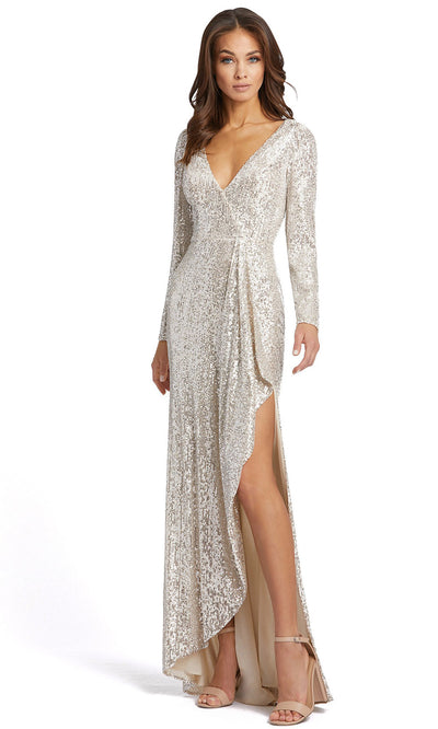 Ieena Duggal - 26395I Allover Sequin High Slit Evening Gown In Silver and Gray