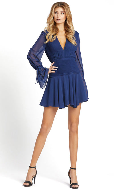 Ieena Duggal - 26411I V-Neck Long Sleeve Pintuck Dress In Blue