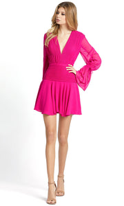 Ieena Duggal - 26411I V-Neck Long Sleeve Pintuck Dress In Pink