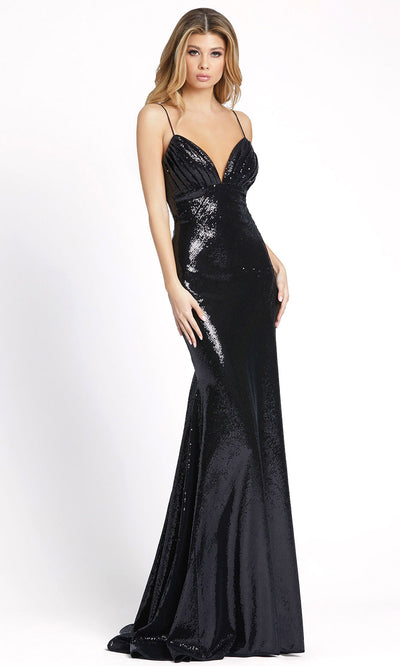 Ieena Duggal - 26414I Spaghetti Strap Empire Waist Full Sequin Gown In Black