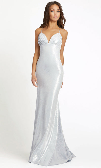 Ieena Duggal - 26414I Spaghetti Strap Empire Waist Full Sequin Gown In White
