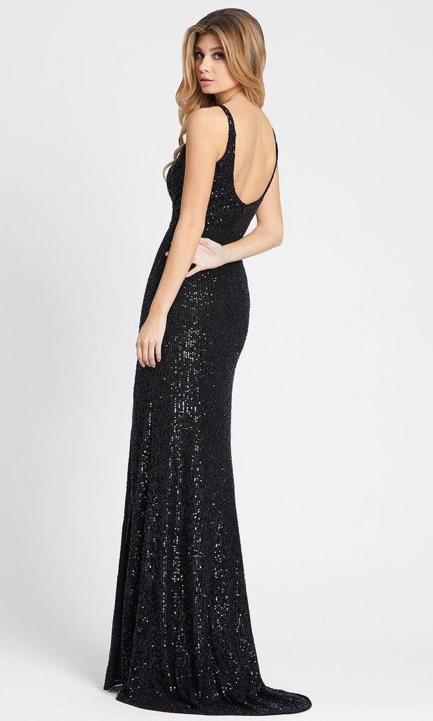 Ieena Duggal - 26443I V-Neck High Slit Sequin Sheath Evening Gown