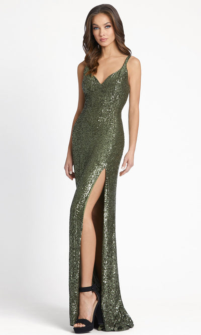 Ieena Duggal - 26443I V-Neck High Slit Sequin Sheath Evening Gown In Green