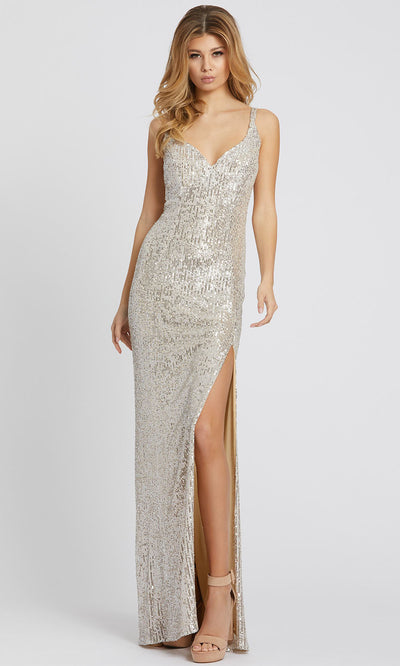 Ieena Duggal - 26443I V-Neck High Slit Sequin Sheath Evening Gown In Silver and Gray