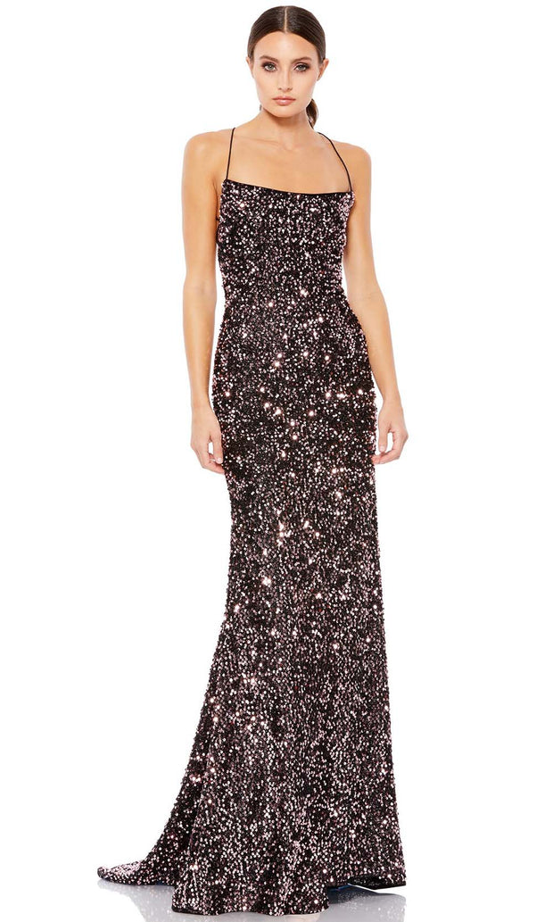 Ieena Duggal - 26444I Strapped Open Back Shimmering Sequin Gown In Black