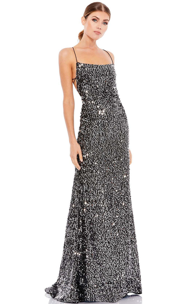 Ieena Duggal - 26444I Strapped Open Back Shimmering Sequin Gown In Silver and Gray