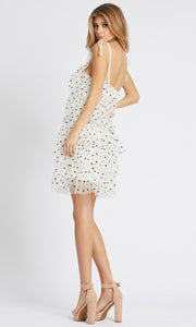 Ieena Duggal - 26457I Tiered Polkadot Dress In Print