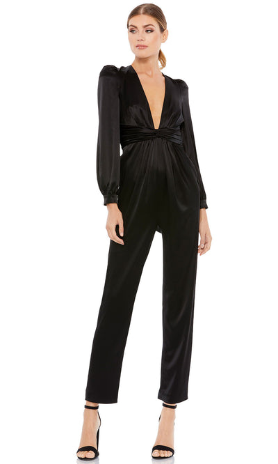 Ieena Duggal - 2647I Deep V-Neck Pleated Waist Formal Evening Jumpsuit In Black